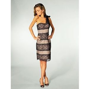 Betsey Johnson One Shoulder Lace Sheath Dress
